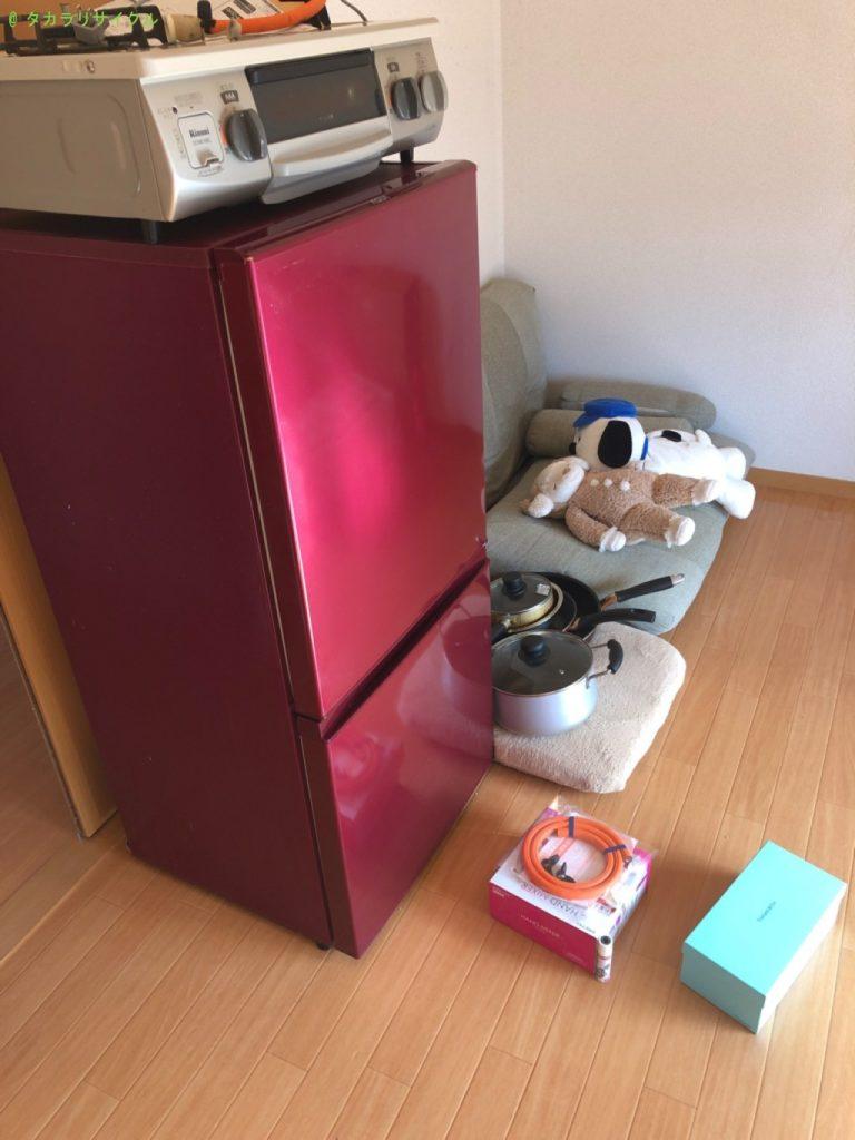 【東近江市】小型冷蔵庫、ガスコンロ、鍋、座布団などの処分・回収のご依頼者さま